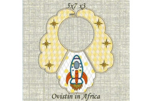 Yellow Rocket Baby Bib for Small Hoops Nursery Embroidery Design By Ovistin in Africa