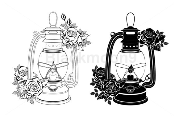 Two Lamps with Roses Graphic Illustrations By Blackmoon9