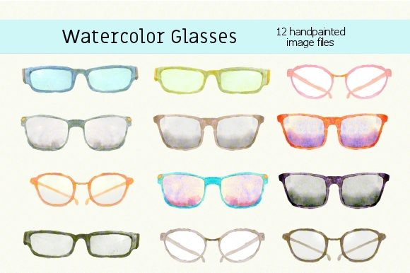 Print on Demand: Watercolor Novelty Glasses Clipart Set Graphic Illustrations By roselocket