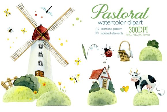 Watercolor Pastoral Graphic Illustrations By Мария Кутузова