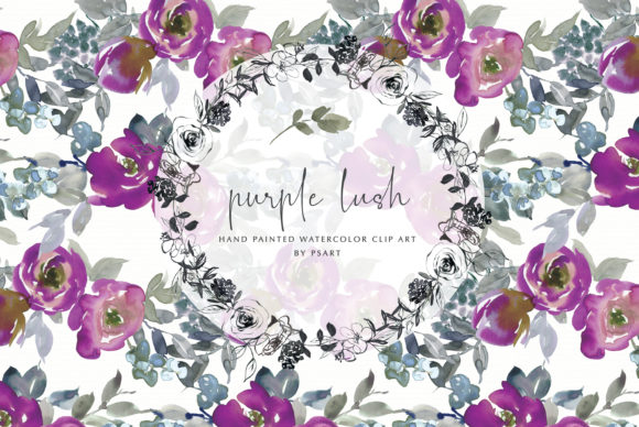 Watercolor Purple Floral Clipart Set Graphic Illustrations By Patishop Art