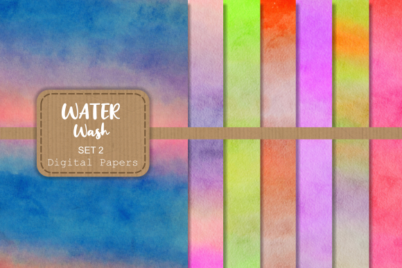 Print on Demand: Watercolor Wash Textured Digital Papers Graphic Backgrounds By Prawny