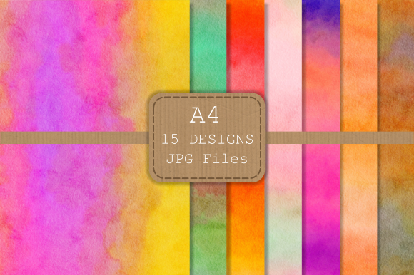 Print on Demand: Watercolor Wash Textured Digital Papers Graphic Backgrounds By Prawny - Image 2