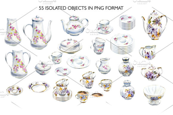 Watercolor Tea and Coffee Service. Graphic Illustrations By Мария Кутузова - Image 2