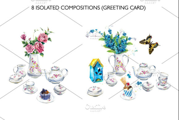 Watercolor Tea and Coffee Service. Graphic Illustrations By Мария Кутузова - Image 4