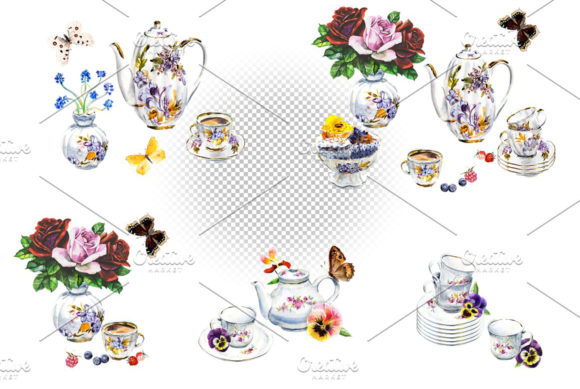 Watercolor Tea and Coffee Service. Graphic Illustrations By Мария Кутузова - Image 5