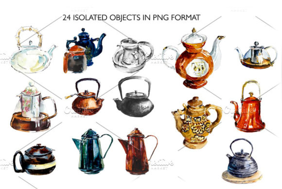 Watercolor Vintage Teapots Graphic Illustrations By Мария Кутузова - Image 2