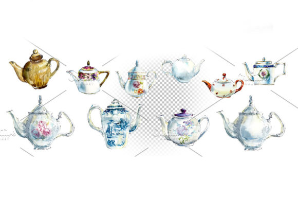 Watercolor Vintage Teapots Graphic Illustrations By Мария Кутузова - Image 3