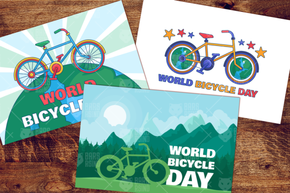 Download Free World Bicycle Day Illustrations Set Graphic By Barsrsind for Cricut Explore, Silhouette and other cutting machines.