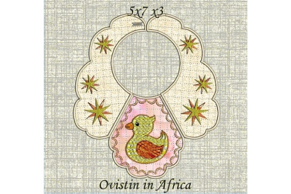 Yellow Duckling Baby Bib for Small Hoops Nursery Embroidery Design By Ovistin in Africa