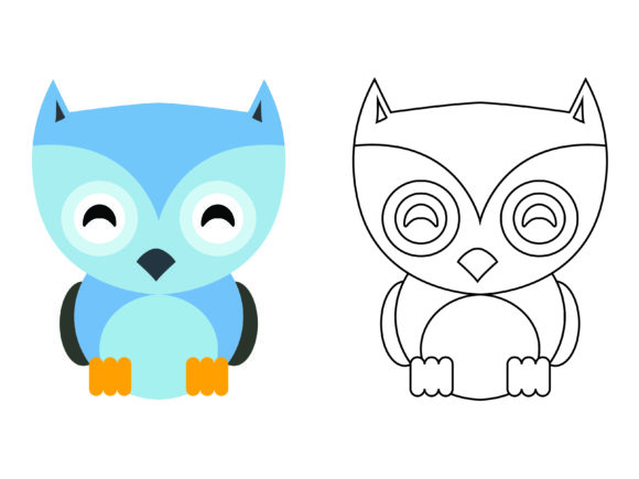 Download Free Cute Blue Owl Kids Coloring Vector Icon Graphic By 1tokosepatu for Cricut Explore, Silhouette and other cutting machines.