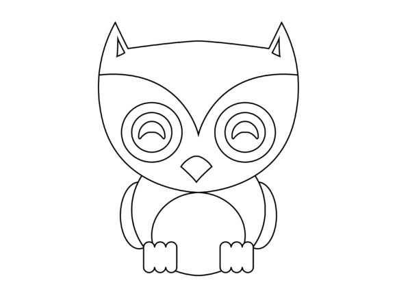 Download Free Cute Blue Owl Kids Coloring Vector Icon Graphic By 1tokosepatu Creative Fabrica for Cricut Explore, Silhouette and other cutting machines.
