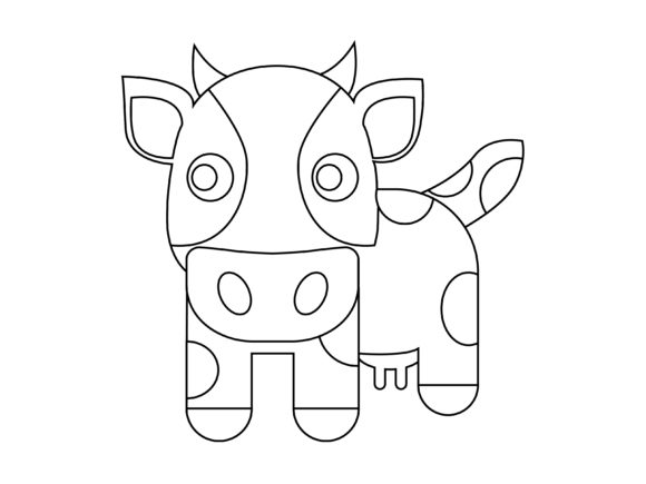 Download Free Cute Brown Cow Kids Coloring Vector Icon Graphic By 1tokosepatu for Cricut Explore, Silhouette and other cutting machines.