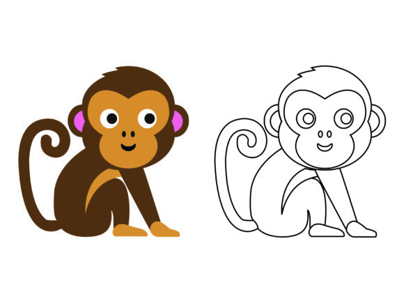 Download Free Cute Brown Monkey Kids Coloring Vector Graphic By 1tokosepatu for Cricut Explore, Silhouette and other cutting machines.