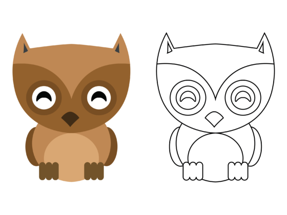 Download Free Cute Brown Owl Kids Coloring Vector Icon Graphic By 1tokosepatu for Cricut Explore, Silhouette and other cutting machines.