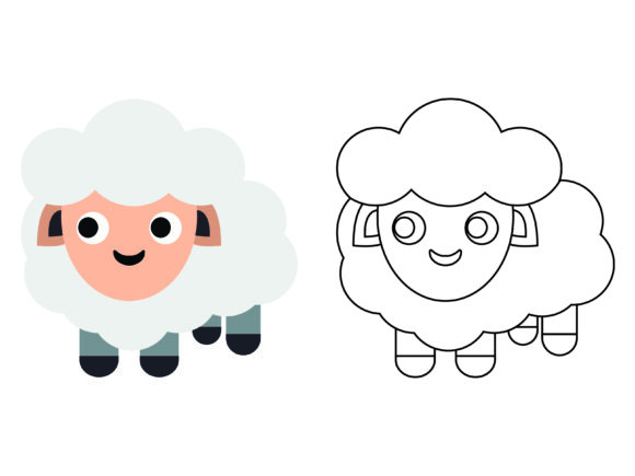 Download Free Cute Sheep Kids Coloring Vector Icon Graphic By 1tokosepatu for Cricut Explore, Silhouette and other cutting machines.