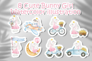 Print on Demand: Set of Cute Bunny Girl Watercolor Graphic Illustrations By OrchidArt