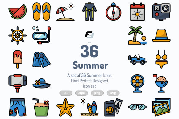 Download Free 36 Summer Icons Graphic By Fauzidea Creative Fabrica for Cricut Explore, Silhouette and other cutting machines.