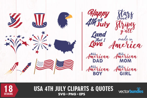 Print on Demand: 4th of July USA Bundle Clipart and Quote Graphic Crafts By vectorbundles