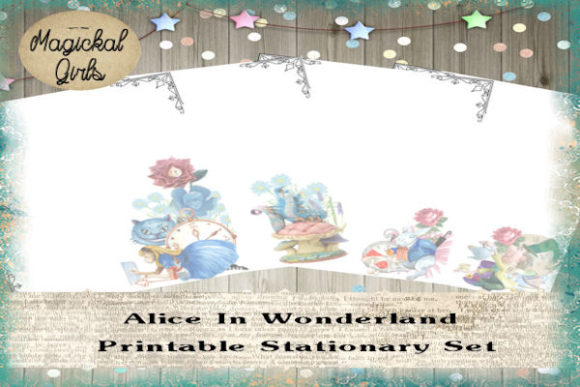 Download Free Alice In Wonderland Printable Stationary Graphic By Magickal for Cricut Explore, Silhouette and other cutting machines.