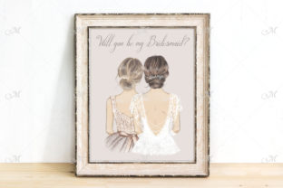 Bride and Bridesmaid Illustration Graphic Illustrations By MaddyZ