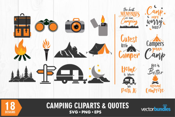 Print on Demand: Camp Quote and Clip Art Bundle Graphic Crafts By vectorbundles