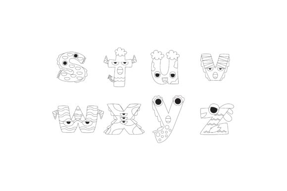 Download Free Cartoon Alphabet Letter Outline Stuvwxyz Graphic By for Cricut Explore, Silhouette and other cutting machines.