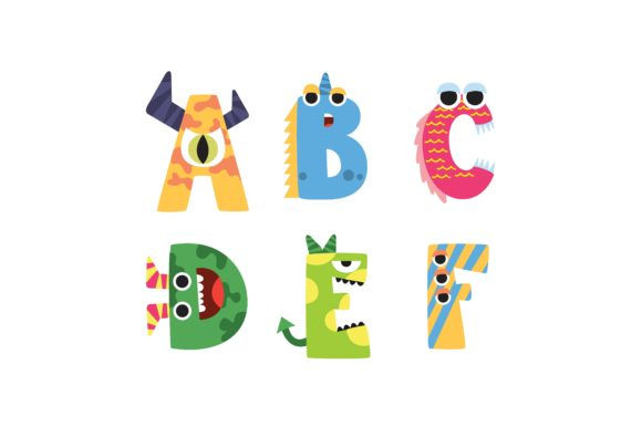 Cartoon Alphabet Letters Coloured ABCDEF Graphic Illustrations By printablesplazza