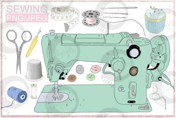 Cartoon Sewing Bundle Graphic Illustrations By Jen Digital Art - Image 1