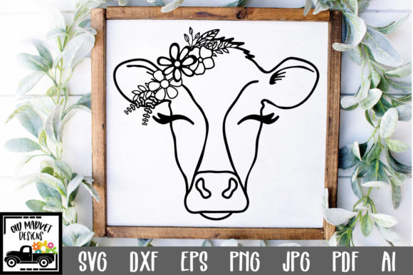 Download Free Cow Face Cut File Graphic By Oldmarketdesigns Creative Fabrica for Cricut Explore, Silhouette and other cutting machines.
