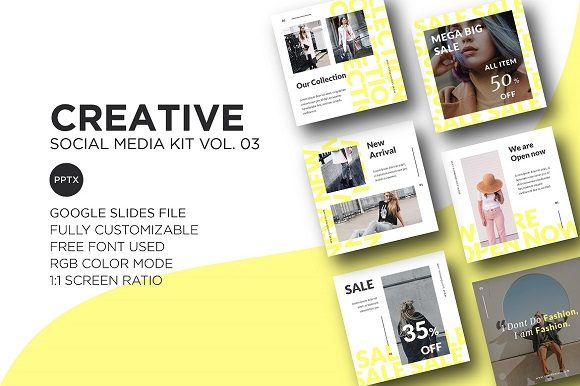 Download Free Creative Social Media Kit Vol 03 Gsl Graphic By for Cricut Explore, Silhouette and other cutting machines.