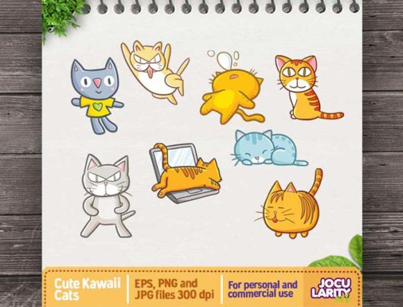 Download Free Cute Kawaii Cat In Action Clipart Funny Graphic By Jocularityart for Cricut Explore, Silhouette and other cutting machines.