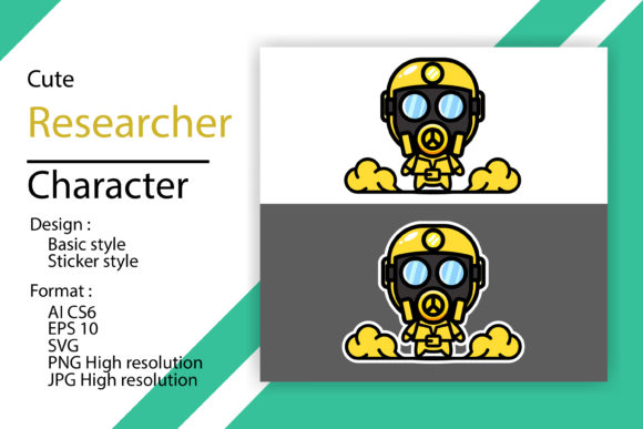 Cute Researcher Character with 2 Model Graphic Illustrations By sholicha