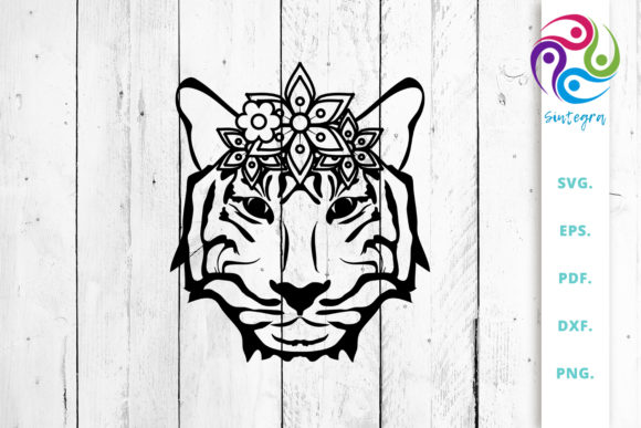 Print on Demand: Floral Tiger Head Cut File Graphic Crafts By Sintegra - Image 1