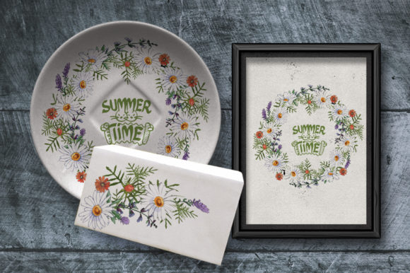 Download Free Floral Wreath With Chamomile Graphic By Kazakova O Creative for Cricut Explore, Silhouette and other cutting machines.