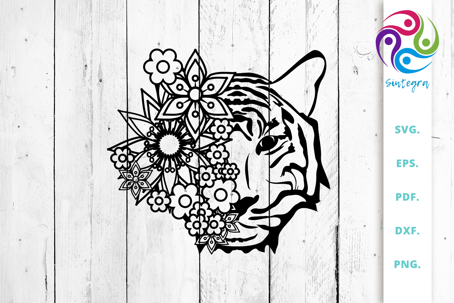 Download Free Flowers With Tiger Head Cut File Graphic By Sintegra Creative for Cricut Explore, Silhouette and other cutting machines.