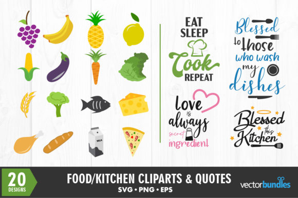 Food Kitchen Cliparts And Quotes Graphic By Vectorbundles Creative Fabrica