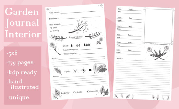 Download Free Garden Plant Keeping Journal Interior Graphic By for Cricut Explore, Silhouette and other cutting machines.