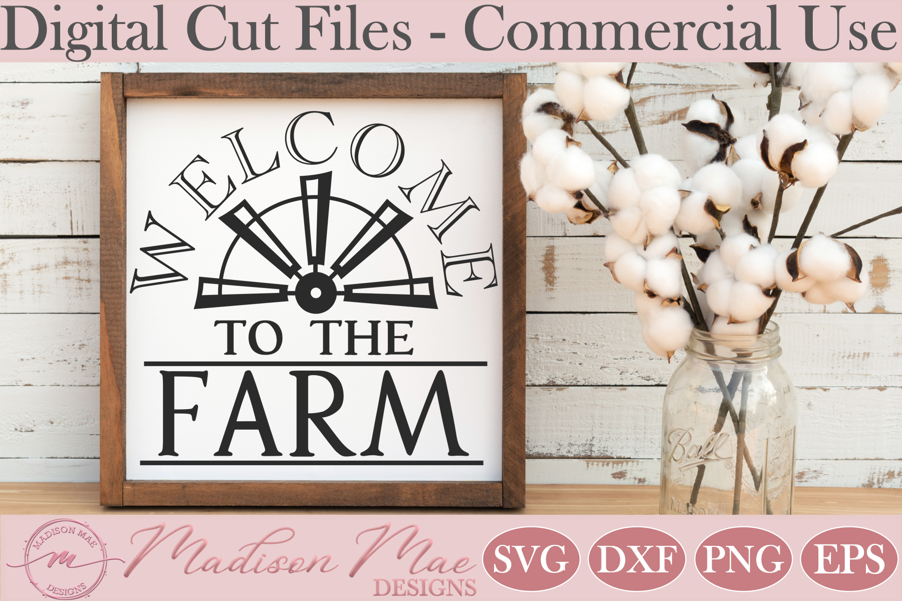 Download Free Half Windmill Welcome To The Farm Graphic By Madison Mae for Cricut Explore, Silhouette and other cutting machines.