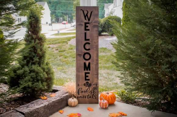 Download Free Halloween Front Porch Sign Welcome Graphic By Simply Cut Co for Cricut Explore, Silhouette and other cutting machines.
