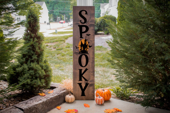 Download Free Halloween Front Porch Sign Spooky Graphic By Simply Cut Co for Cricut Explore, Silhouette and other cutting machines.