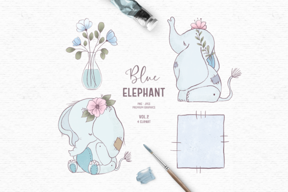 Print on Demand: Hand-drawn Baby Elephant Clipart in Blue Graphic Illustrations By Wallifyer