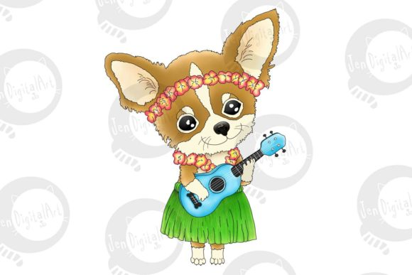 Hawaiian Chihuahua Playing a Ukulele Graphic Illustrations By Jen Digital Art - Image 1