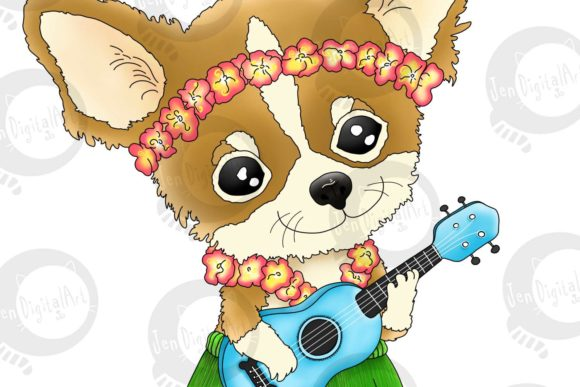 Hawaiian Chihuahua Playing a Ukulele Graphic Illustrations By Jen Digital Art - Image 2