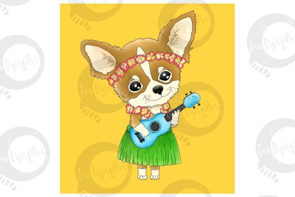 Hawaiian Chihuahua Playing a Ukulele Graphic Illustrations By Jen Digital Art - Image 3