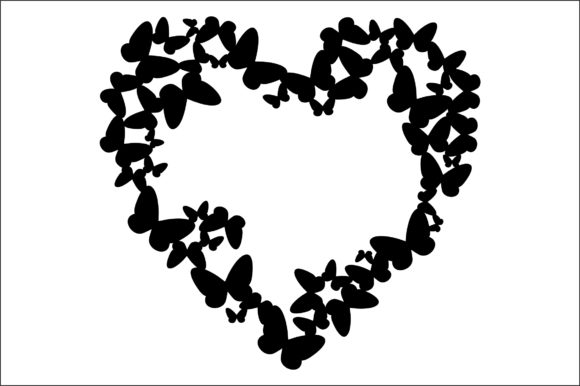 Download Free Heart Frame Butterflies Frame Graphic By Bn3300877 Creative for Cricut Explore, Silhouette and other cutting machines.
