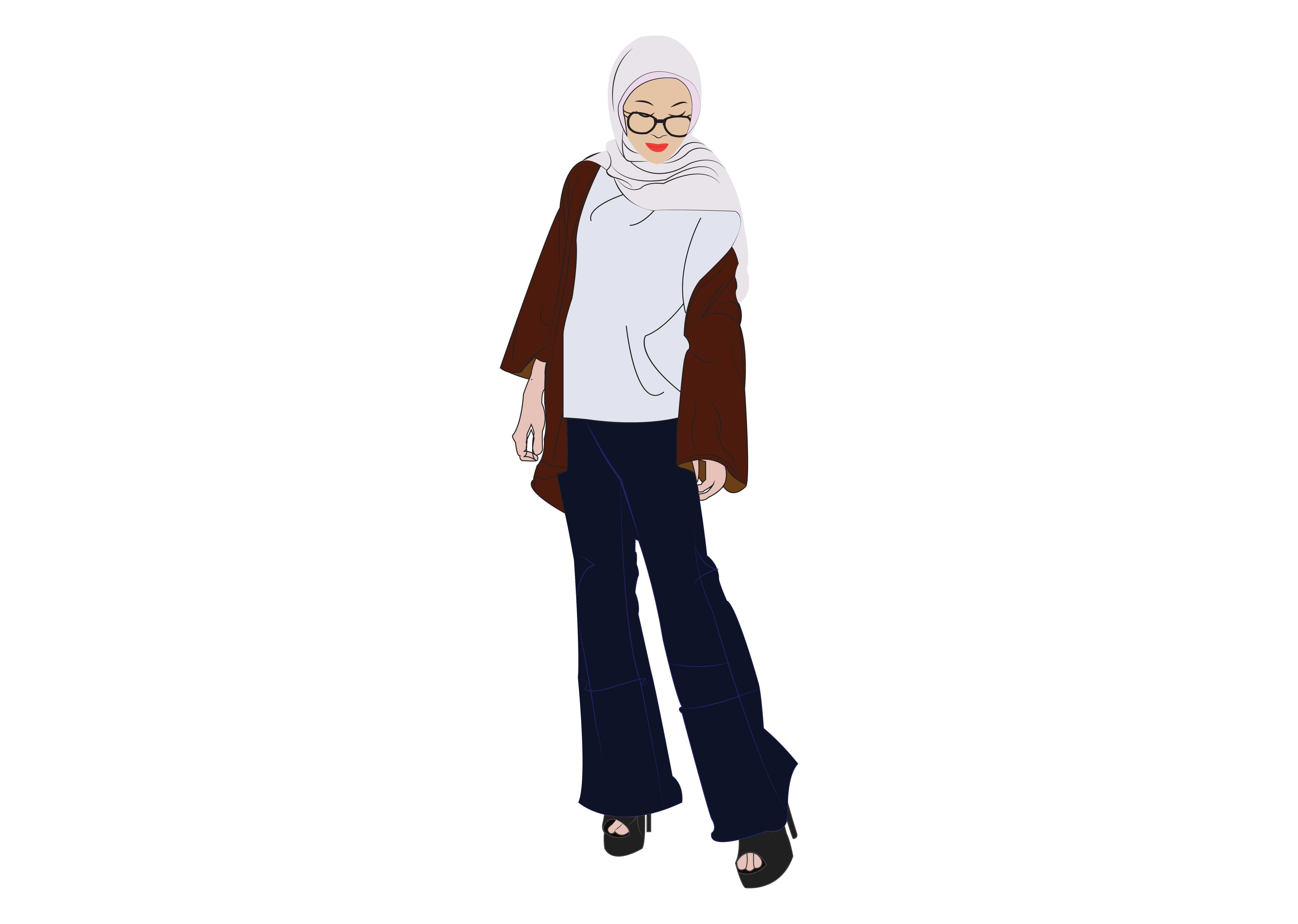 Download Free Hijab Girl 10 Graphic By Studioisamu Creative Fabrica for Cricut Explore, Silhouette and other cutting machines.