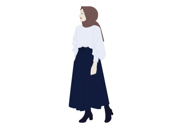 Download Free Hijab Girl 5 Graphic By Studioisamu Creative Fabrica for Cricut Explore, Silhouette and other cutting machines.
