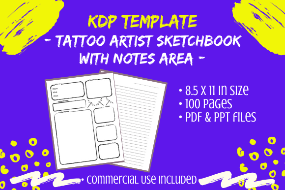 Download Free Kdp Template Tattoo Artist Sketch Book Graphic By Tomboy Designs Creative Fabrica for Cricut Explore, Silhouette and other cutting machines.