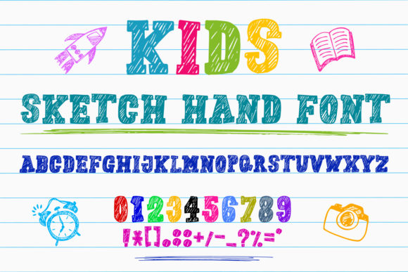 Print on Demand: Kids Sketch Hand Script & Handwritten Font By OWPictures